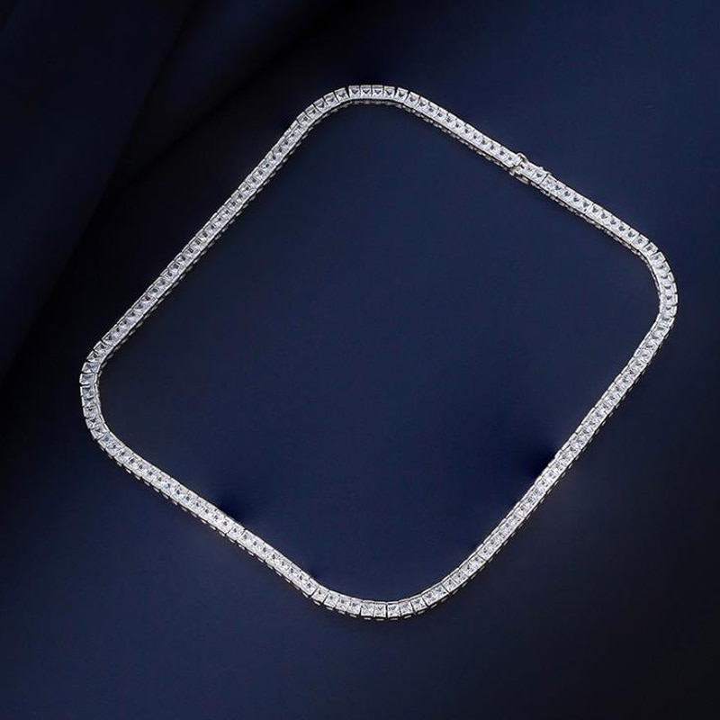 Knobspin 100% 925 Sterling Silver Sparkling Full 3mm High Carbon Diamond Tennis 50cm Chain Necklace Fine Jewelry Gift Wholesale