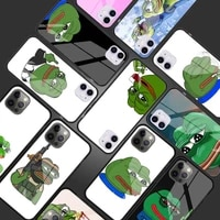 sad frog pepe meme tempered glass phone case for iphone 11 12 pro xr x 7 8 xs max 6 6s plus se 2020 cover shell coque capa