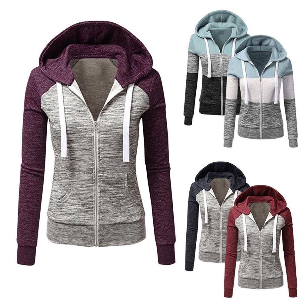 Женский свитшот с капюшоном, Свитшот в стиле пэчворк, кофта с капюшоном на молнии и карманами, свитшот на шнурке, повседневные топы с длинным рукавом, осень-весна