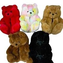 Women Home Indoor Soft anti-slip Faux Fur Cute Slippers Winter Warm Shoes Cartoon Plush Teddy Bear S