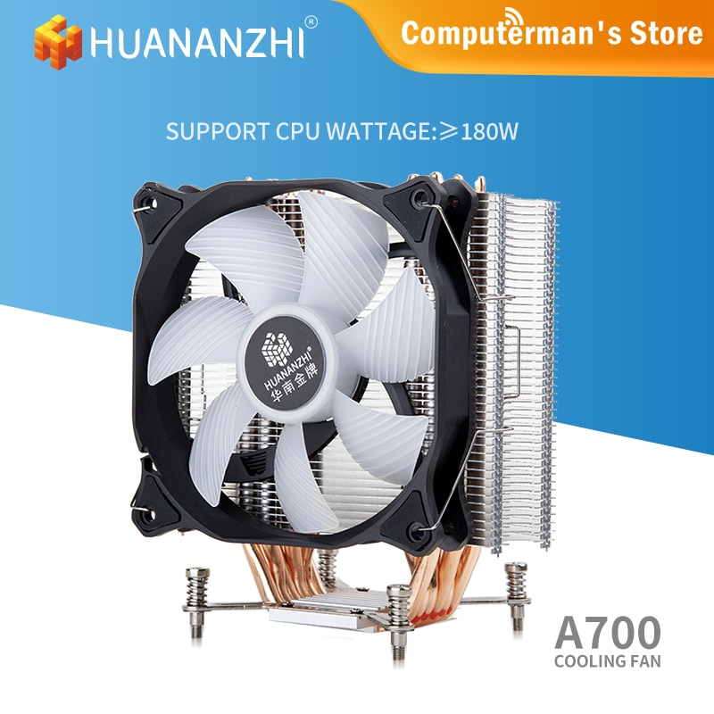 HUANANZHI A700 LGA 2011 775 1150 1151 1155 2/4 أنبوب حراري من النحاس LED وحدة المعالجة المركزية مسند تبريد للاب توب مدمج به مكبر صوت مروحة المبرد هادئة واحدة/مزدوج...
