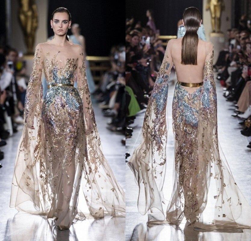 Elie saab alta costura vestidos de noite jewel neck mangas compridas vestido de baile formal vestidos de festa especial vestido de ocasião robe de soi