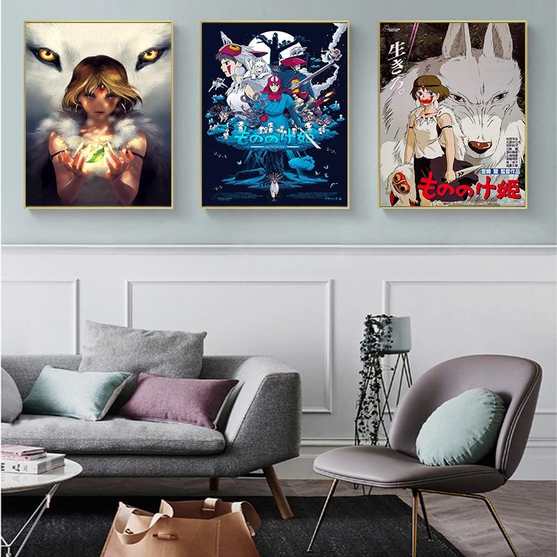 Mononoke hime casa decoração poster fotos impressões da lona filme sala de estar arte pintura decorativa