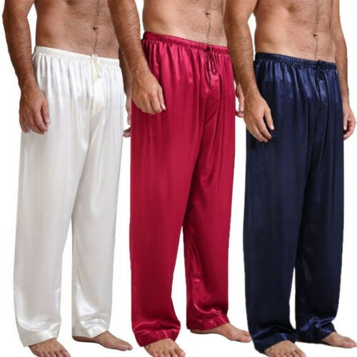 Mens Nightwear Sleepwear Bath Satin Silk Long Lounge Pants NEW 4 Colors