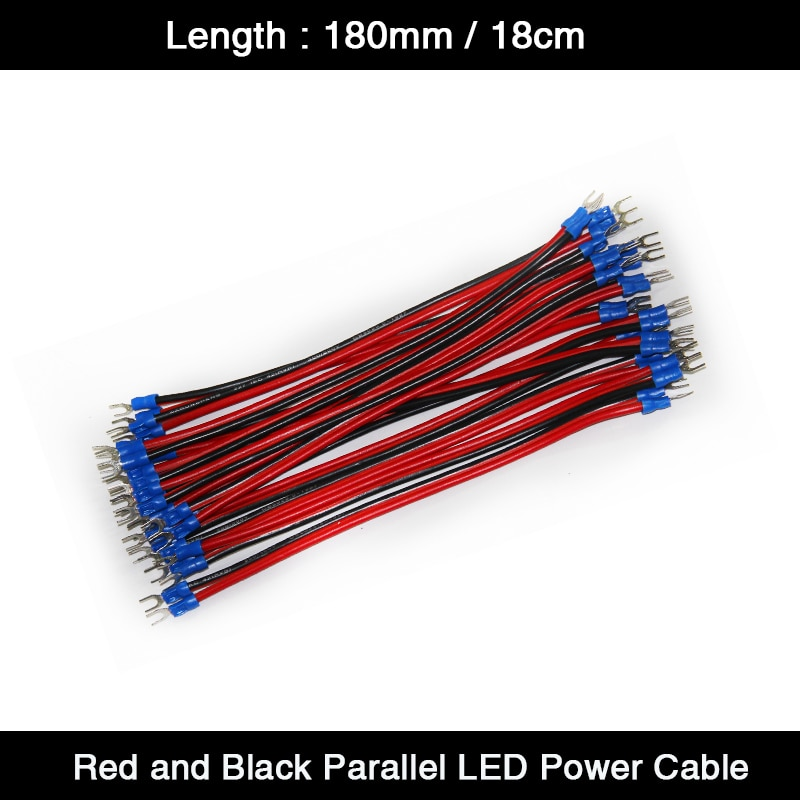 20Pcs/Lot 180mm / 18cm Red and Black Pure Copper Power Supply Cable Power Cord Power Wire for Indoor Outdoor LED Display Screen