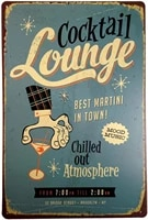 retro tin sign for cocktail lounge used for wall decoration in shops bars cafes kitchens restaurants homes size