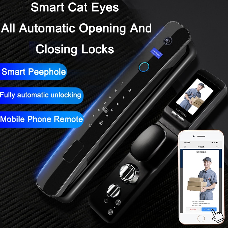 Automatic switch lock mobile phone fingerprint password magnetic card with camera video peephole photo home smart door lock