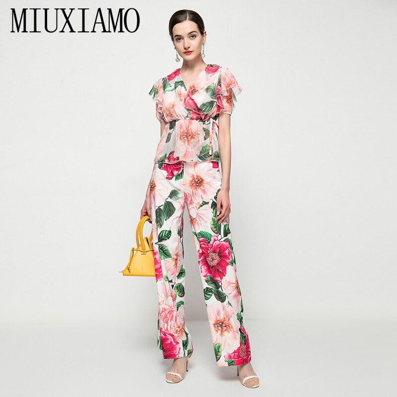 MIUXIMAO-طقم نسائي صيفي من قطعتين ، بلوزة شيفون غير رسمية برقبة على شكل v وبنطلون كاجوال بطبعة زهور ، لقضاء الإجازات ، 2021