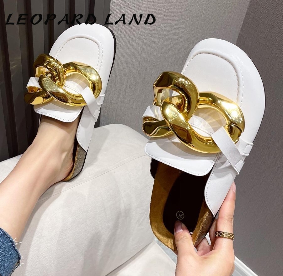 LEOPARD LAND 2021 Women Slipper Fashion Big Gold Chain Sandals Shoes Round Toe Slip On Mules Flat Heel Casual Slides Flip CWF