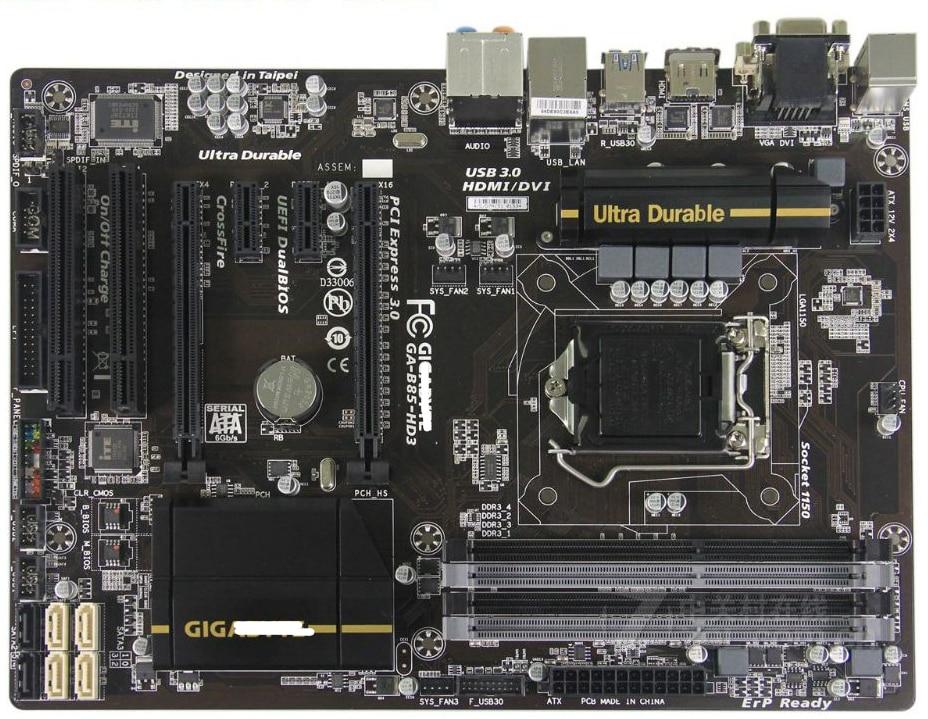 سطح اللوحة LGA 1150 B85 DDR3 جيجا GA-B85-HD3 100% الأصلي اللوحة USB3.0 32G B85-HD3 تستخدم