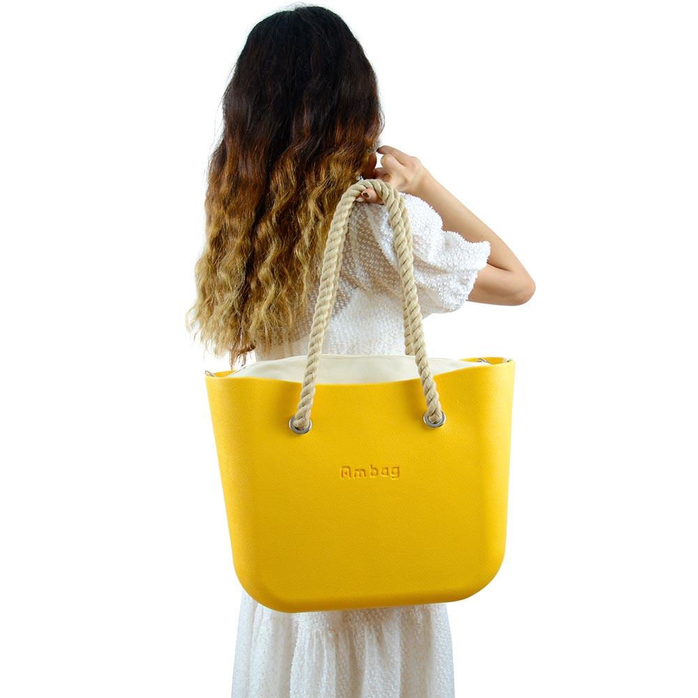 2021 جديد كلاسيكي AMbag Obag O حقيبة نمط مقاوم للماء إيفا كبيرة مع لون نقي سستة الداخلية مقابض حبل طويل المرأة لتقوم بها بنفسك حقيبة يد