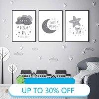 Affiches de peinture sur toile  dessin anime  lune  etoile  nuages  tableau dart mural pour salon  decoration de la maison