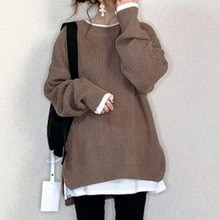 Coffee Pullover Jumper Jersey Women Casual Streetwear Knitted Top Winter Autumn Clothes Korean Femal