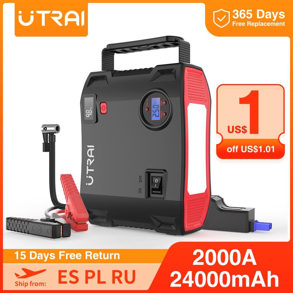 UTRAI 4 In 1 Car Jump Starter 24000mAh 2000A Pump Air Compressor 12V Emergency Car Battery Booster 150PSI Digital Tire Inflator