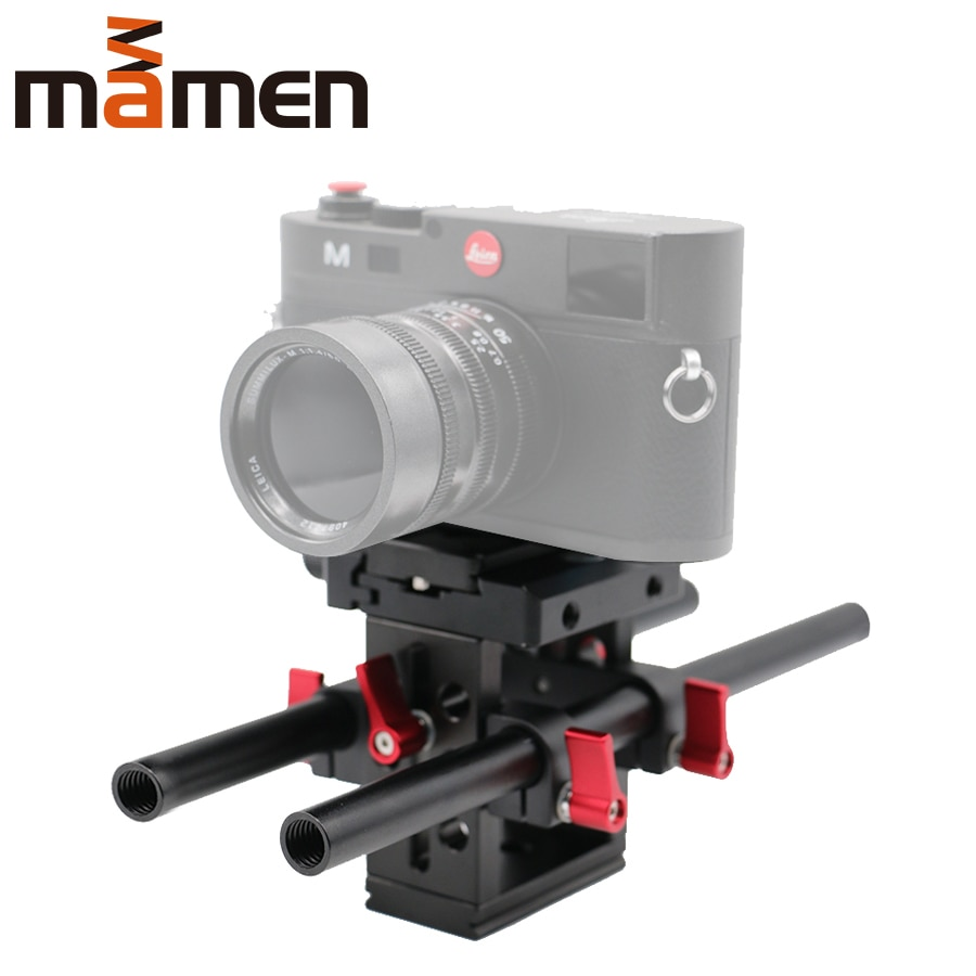 Placa base de cámara con sistema de soporte de riel de 15mm Placa de queso de liberación rápida base de soporte ajustable de altura para cámara SLR