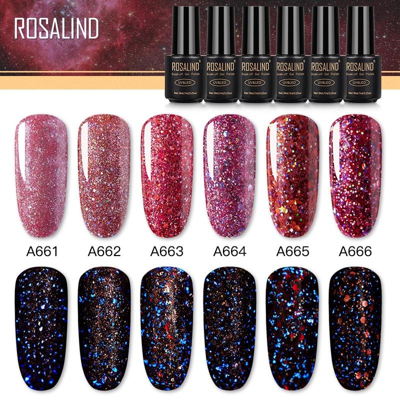 ROSALIND Red Diamond Glitter Gel Nail Polish Semi Permanent UV All For Manicure Hybrid Varnishes For Nail Art Design Top Base