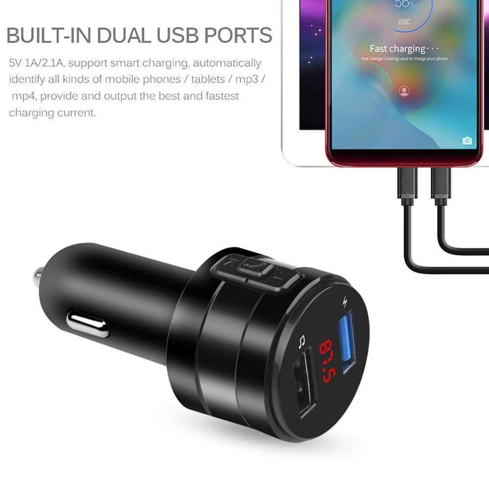 AUX 3.1A Dual USB cargador adaptador de corriente transmisor FM con Bluetooth reproductor de MP3 Kit de manos libres para coche soporte U disk para coche DVR Radio