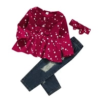 girls casual three piece clothes set dots printed pattern pullover elastic waist jeans and headdress