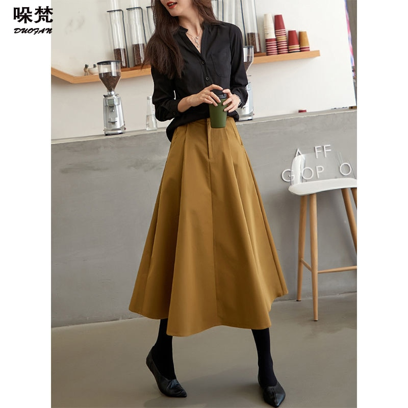 elegant high waisted solid color midi skirt for women DUOFAN Solid Midi Pleated Skirt A-Line Korean Fashion Long High Waisted Skirts Elegant Umbrella Style Women's Skirts