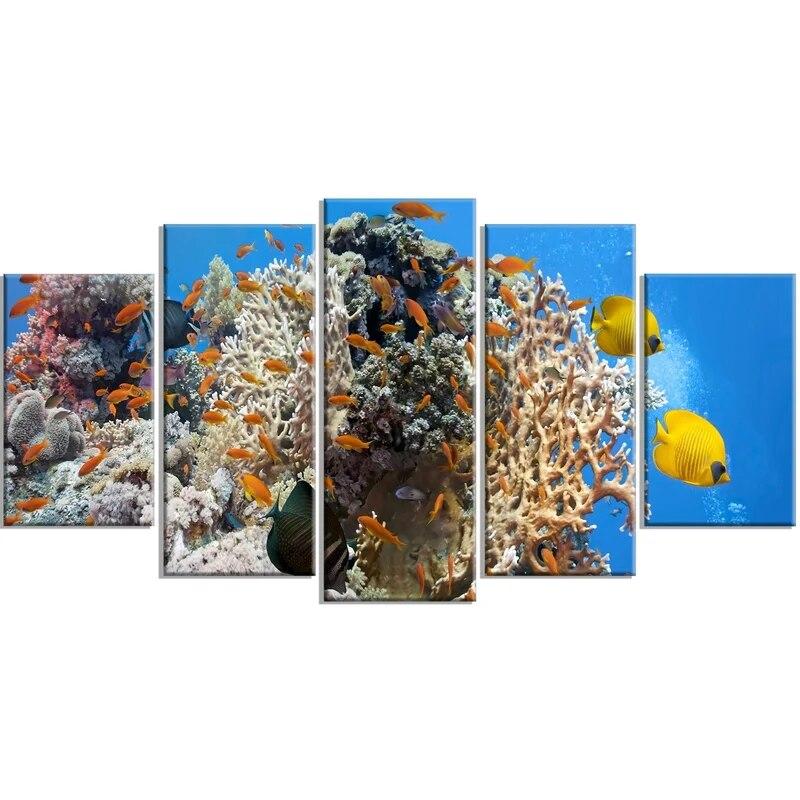 5 шт. домашний декор Подводные принты холст рыба Картина Настенная Современная красочная Коралловая Модульная картина для гостиной постер ...
