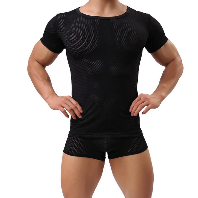 Sexy hombres malla de manga corta Camiseta bóxer Shorts Slim Fitness camisetas ver a través de Gay erótico fetiche sexo ropa interior traje