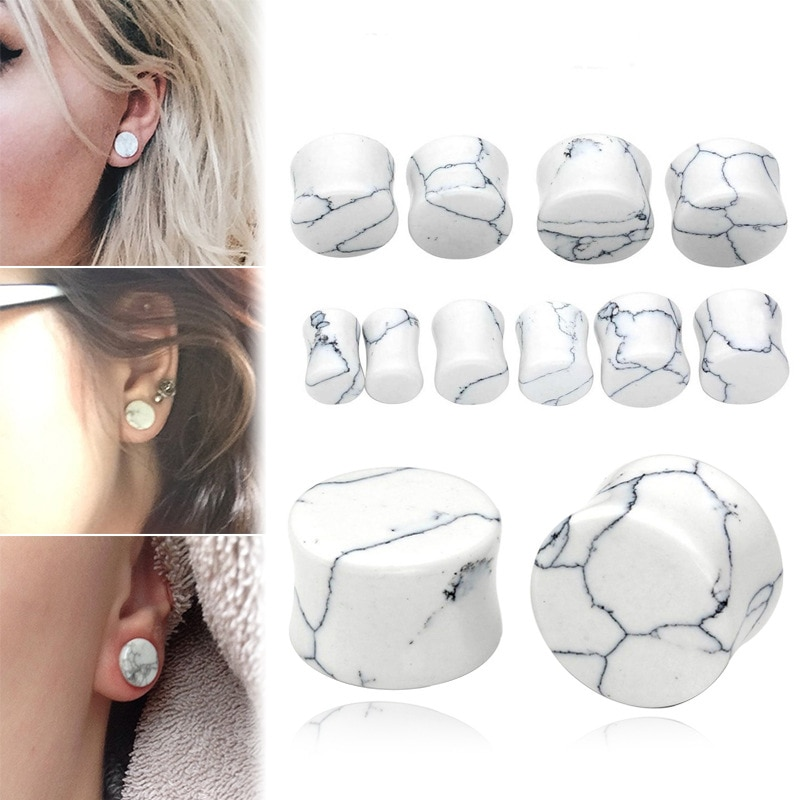 1PC Stone Ear Plugs Gauges Earrings Women Men Ear Plug Flesh Tunnel Piercing Expander Ear Stretcher Body Piercing Jewelry