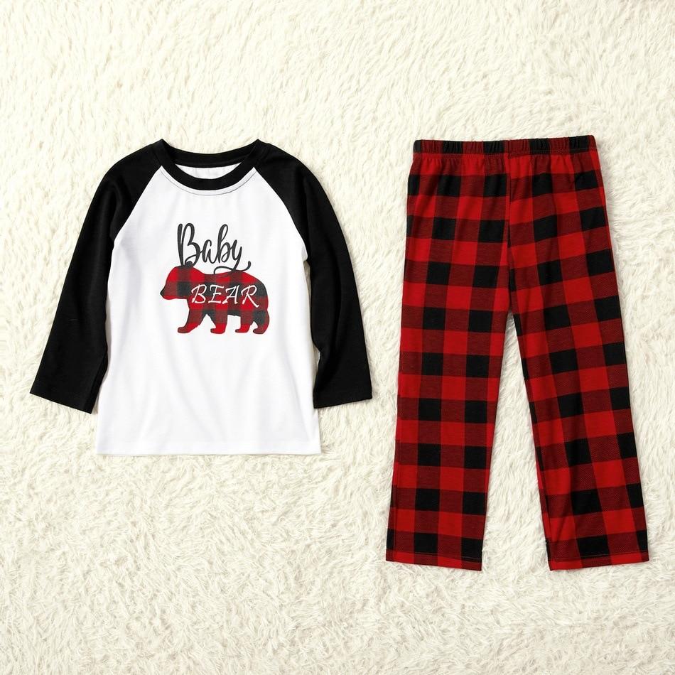 2020 Christmas Parent-child Pajamas Christmas Plaid Bear Print Home Wear Pajamas Children's Clothing pajamas for women cotton enlarge