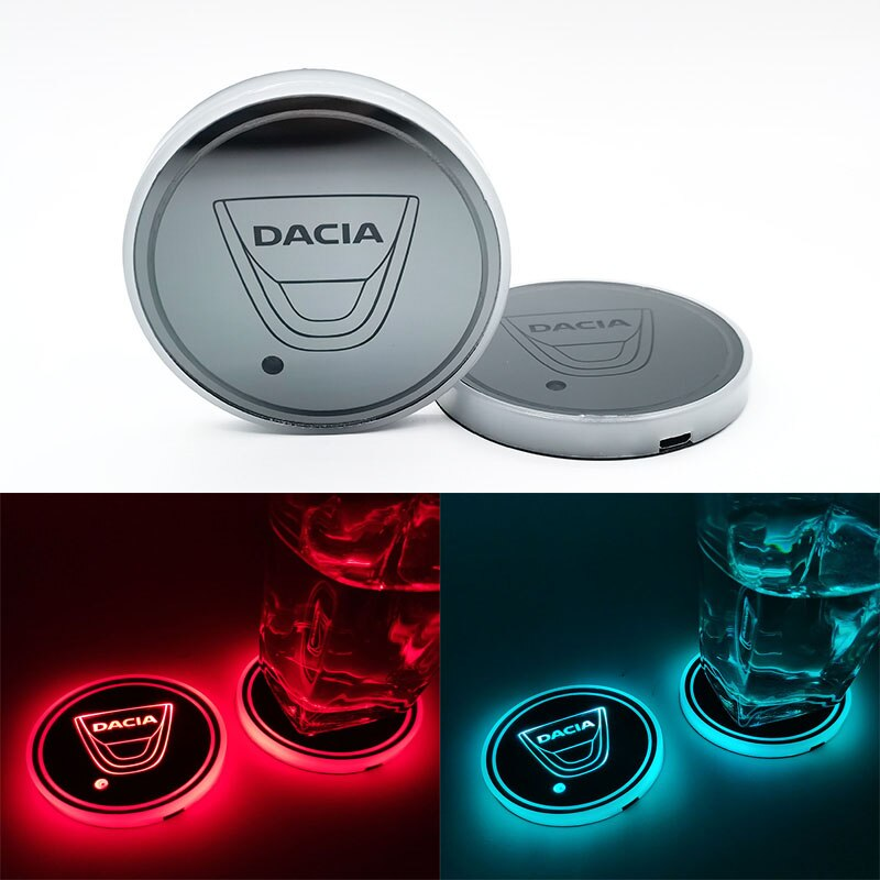 Tapete de taza de agua brillante para coche Dacia, luz de ambiente de montaña luminosa para Dacia Duster Logan 2 Mcv Sandero Stepway