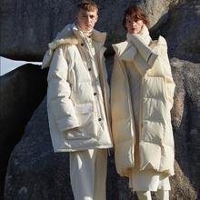 Fit -30 ℃ hiver pain style épais chaud naturel canard vers le bas manteaux femelle surdimensionné parkas à capuche plus long vers le bas vestes chaud manteau F675
