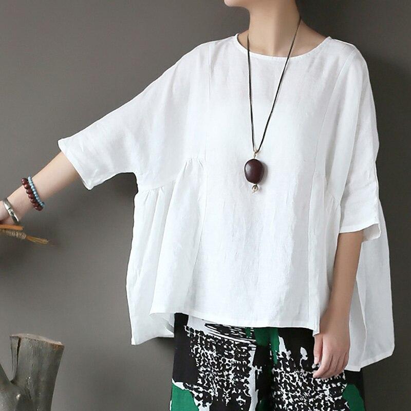 ملابس نسائية أصلية من الكتان الفاخر ، قميص دمية قنب نقي كبير الحجم للغاية ، سترة صيفية بخمسة أكمام ، pullove