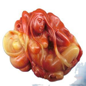 Chinese Shoushan Stone Hand-Carved Stone Carving, Shoushan Stone BeautyStatues