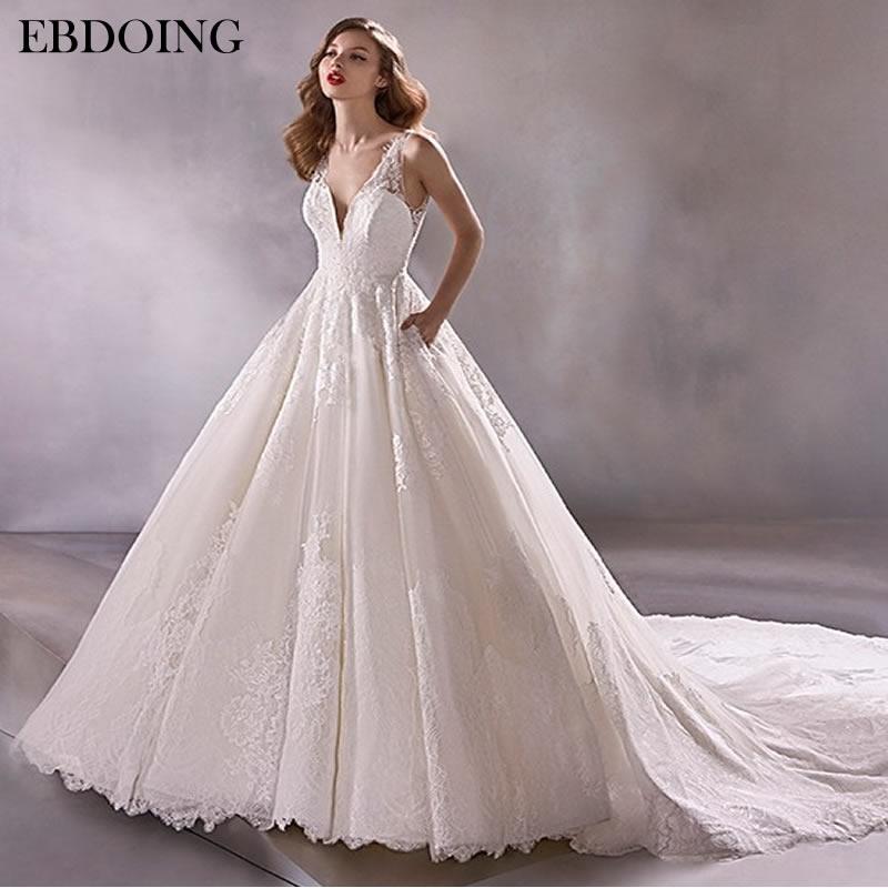 Vestido de novia largo hasta el suelo con encaje, vestido de novia de talla grande con escote y sin mangas, vestido de novia