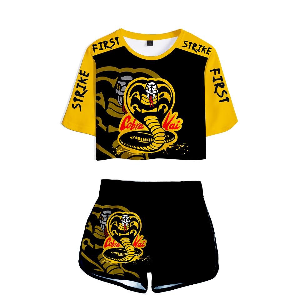 Karate Kid Cobra Kai Cosplay Costume 3D Print Ladies Tracksuit Women Dew navel t shirt + Super shorts Casual Sportswear 2pcs Set
