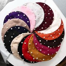 2019 nouvelle mode femmes automne hiver couleur unie Faux perle béret chapeau chaud peintre casquette étoilé perlé perle rivet laine béret