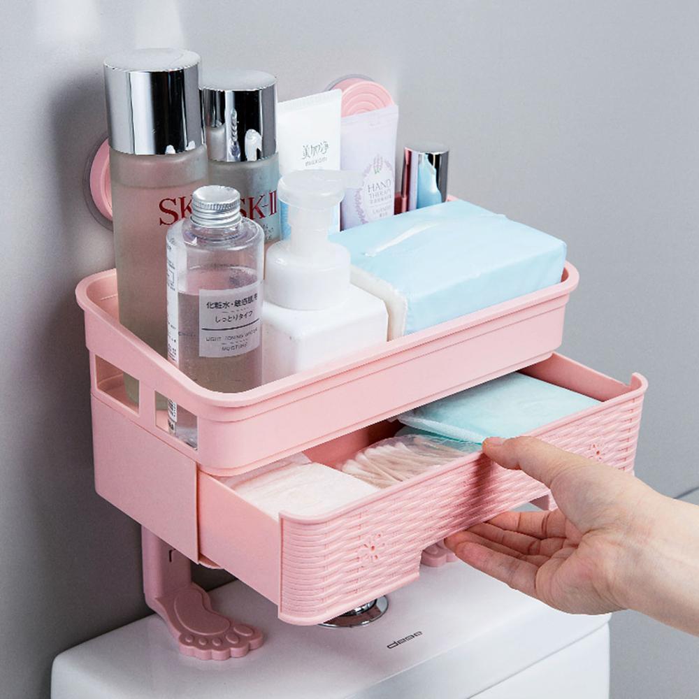 Bad Shampoo Dusche Gel Kosmetik Lagerung Korb Mit 2 Haken 2 Schichten Schublade Typ Wc Lagerung Rack Organizer