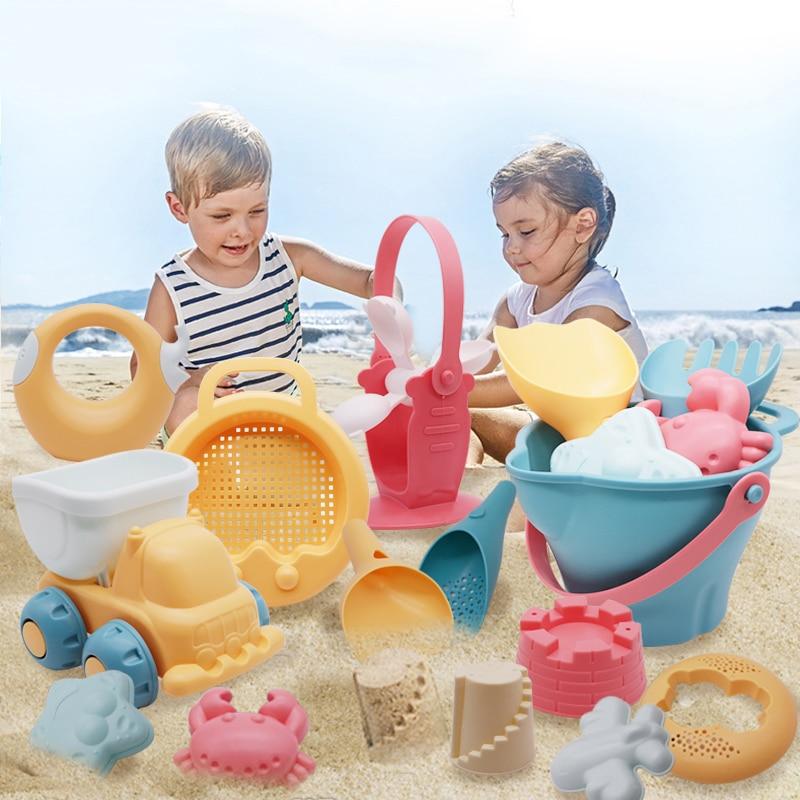 Summer Silicone Soft Baby Beach Toys Baby Beach Game Toy Children Sandbox Set Kit Summer Toy Beach Play Sand Water Play Cart