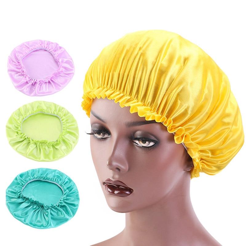 Nuevo gorro sedoso, gorro elástico Lado ancho, gorro para la pérdida de cabello, gorro cosmético para el pelo, gorro para dormir, gorra para quimioterapia, sombreros para mujer