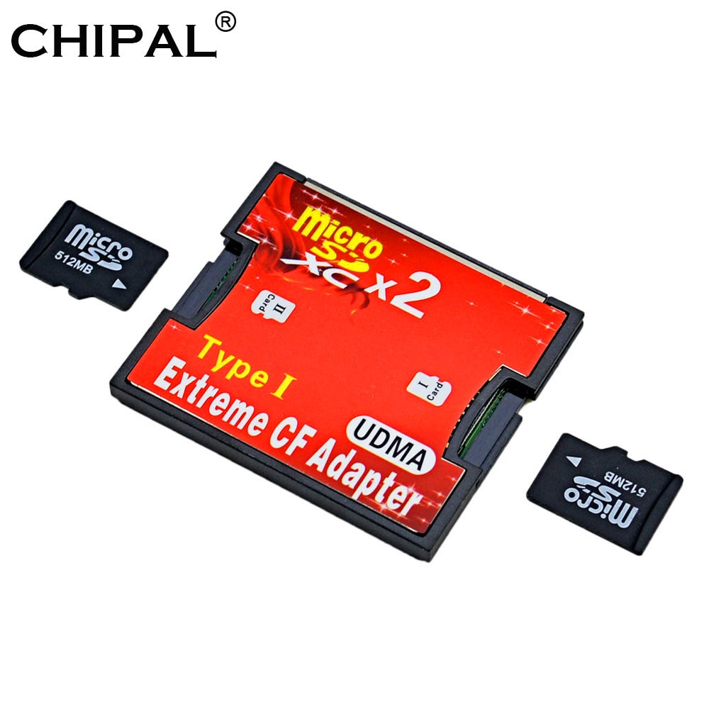 CHIPAL Dual Micro SD SDHC SDXC TF a CF lector adaptador de tarjeta UDMA MicroSD a extremo flash compacto tipo I convertidor lector de tarjetas