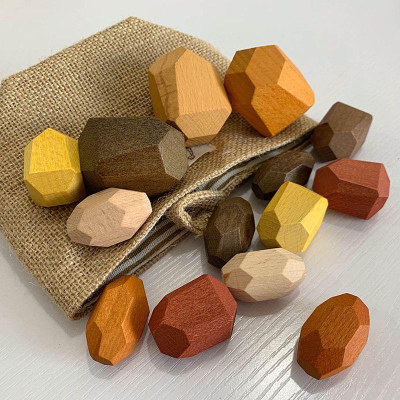 15 pièces enfants en bois coloré pierre empilage jeu bloc de construction enfants créatifs jouets éducatifs