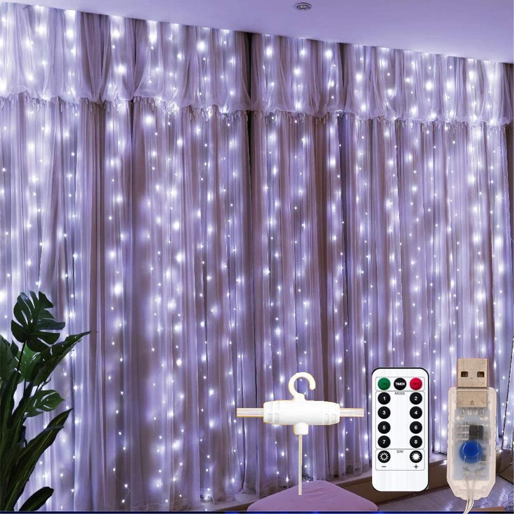 Декоративные занавески, Рождественское украшение, гирлянда, светодиодная гирлянда, занавеска, 3 м x 3 м, питание от USB, для гостиной, новогодни...
