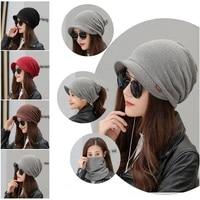 solid women cotton beanie hat with brim multipurpose ponytail caps scarf collar