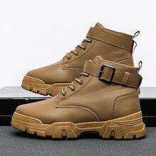 Erkek botları rahat ayakkabılar erkekler Mart botları su geçirmez PU deri ayakkabı bileğe kadar bot erkek patik motosiklet Coturno Botas Hombre