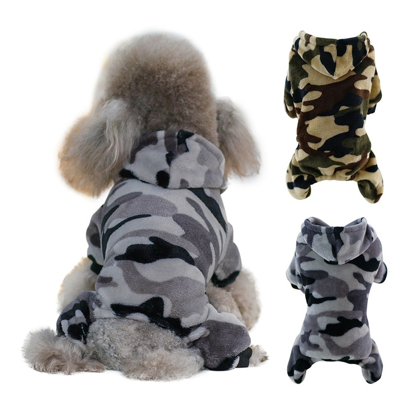 Puppy Hood Coat Pet Dog Camouflage fleece Clothes Four-legged Clothes Printed Outerwear Coat For Dogs Costumes