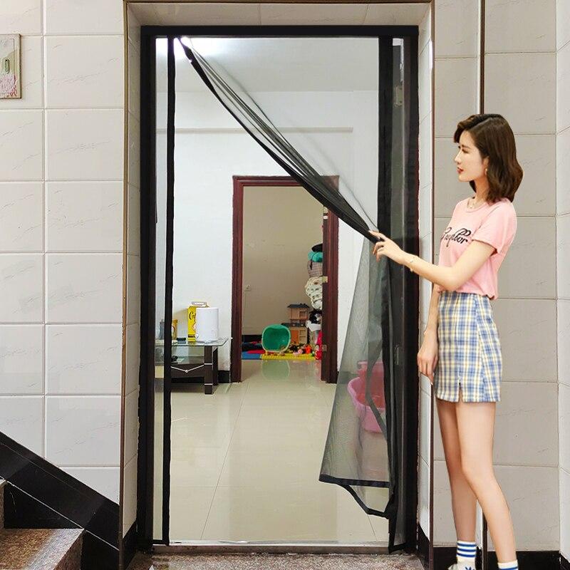 الصيف المغناطيسي الستائر شبكة الشاشة على الباب البعوض صافي مكافحة يطير الحشرات باب شبكة إغلاق التلقائي حجم يمكن تخصيصها
