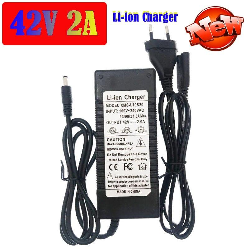 Cargador de batería 36V/42V 18650 salida 42V 2A entrada 100-240V AC li-poly cargador para batería de iones serie 10 ebike bicicleta eléctrica