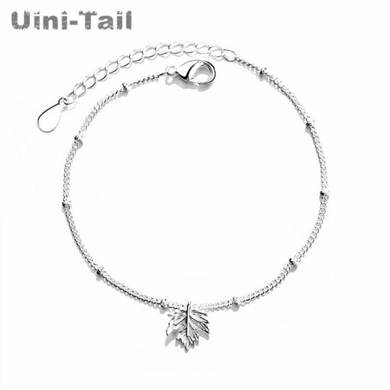 Uini-Tail, хит продаж, новинка, Стерлинговое Серебро 925 пробы, тонкий браслет с Кленовым листом, модный, трендовый, высокое качество, ювелирное из...