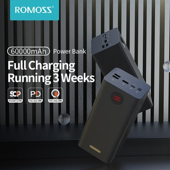 ROMOSS PEA60 Power Bank 60000mAh SCP PD QC 3.0 Quick Charge Powerbank 60000 mAh External Battery Charger For Huawei iPhone