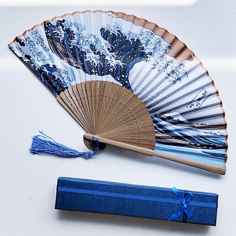 Abanico de mano montura Kanagawa olas japonesas abanico de bolsillo plegable decoración de boda con caja de regalo