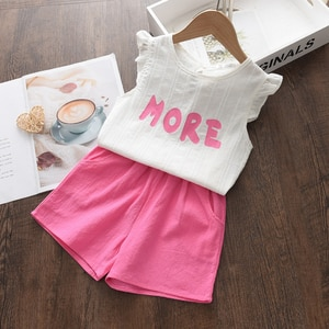 Girls Casual Clothing Sets 2021 New Summer Children Letter Print Vest+Solid Shorts Outfits Sleeveless Children Clothing 3-7Y