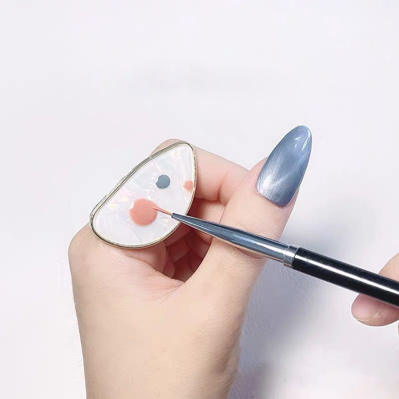 Anillos de concha redonda a la moda para mujeres, anillo de paleta para Nail Art, anillo para dedo, esmalte de Gel UV, mezcla de esmalte de uñas, equipo de diseño abierto 1 Uds.